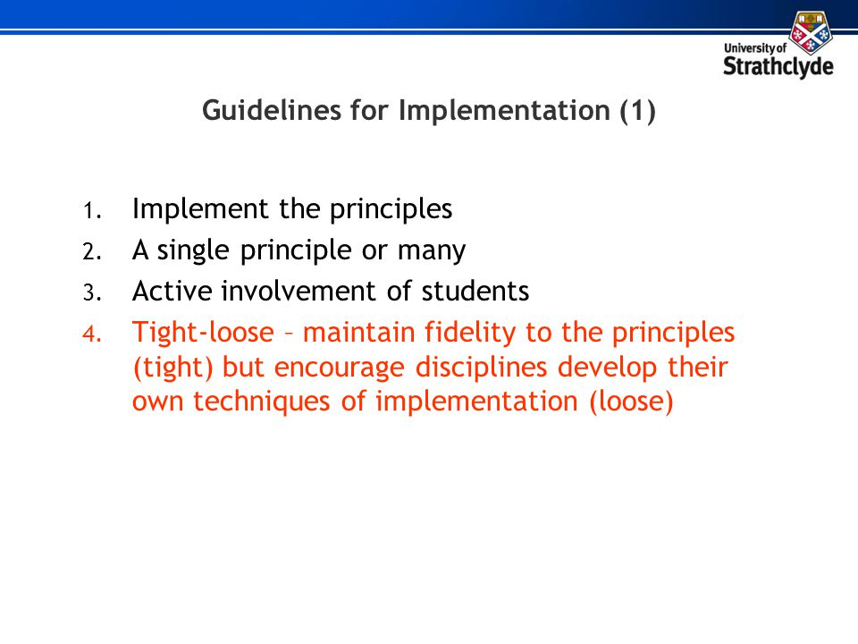 Guidelines for Implementation (1)