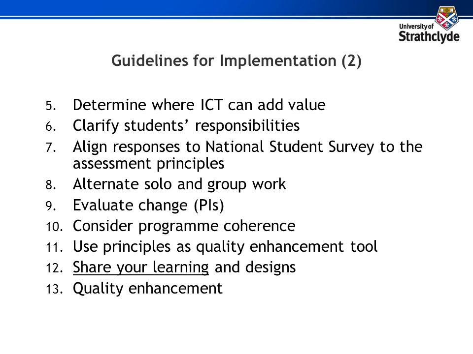 Guidelines for Implementation (2)