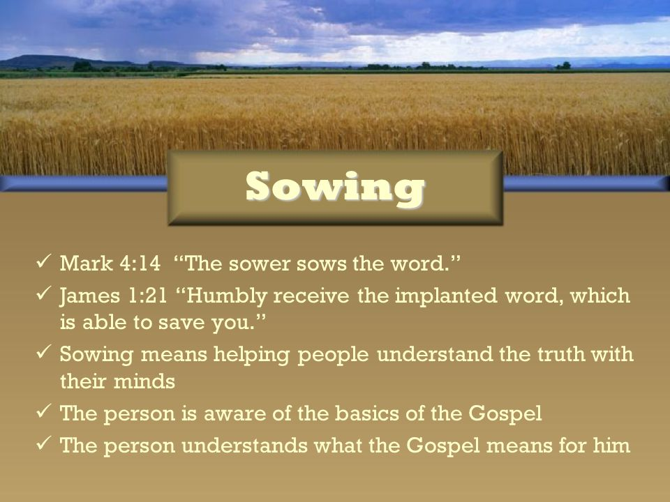 Sowing Mark 4:14 The sower sows the word.