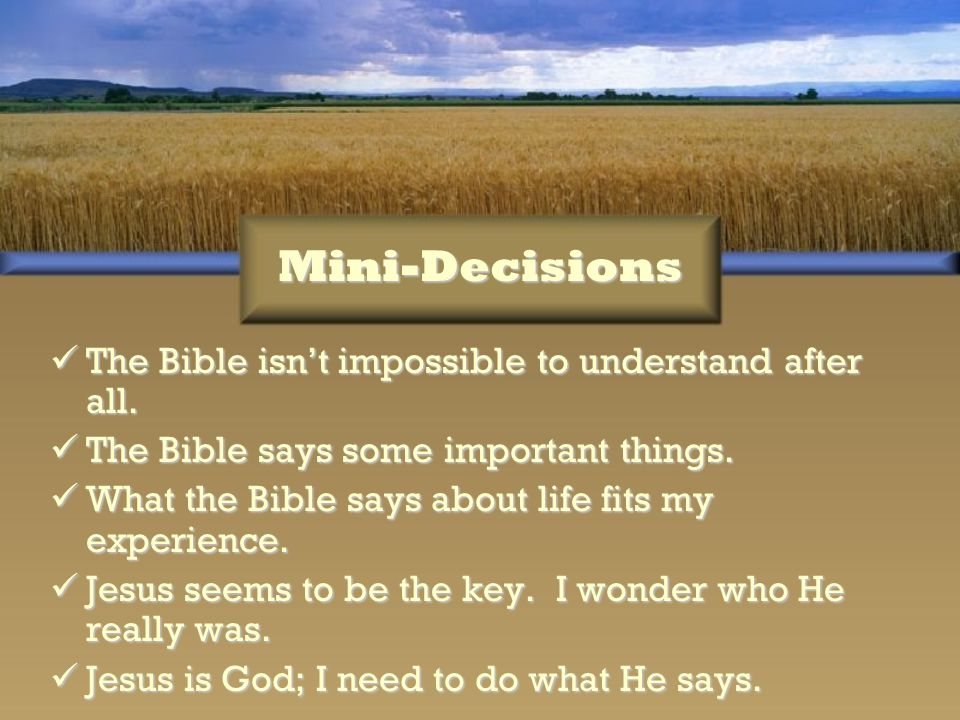Mini-Decisions The Bible isn't impossible to understand after all.