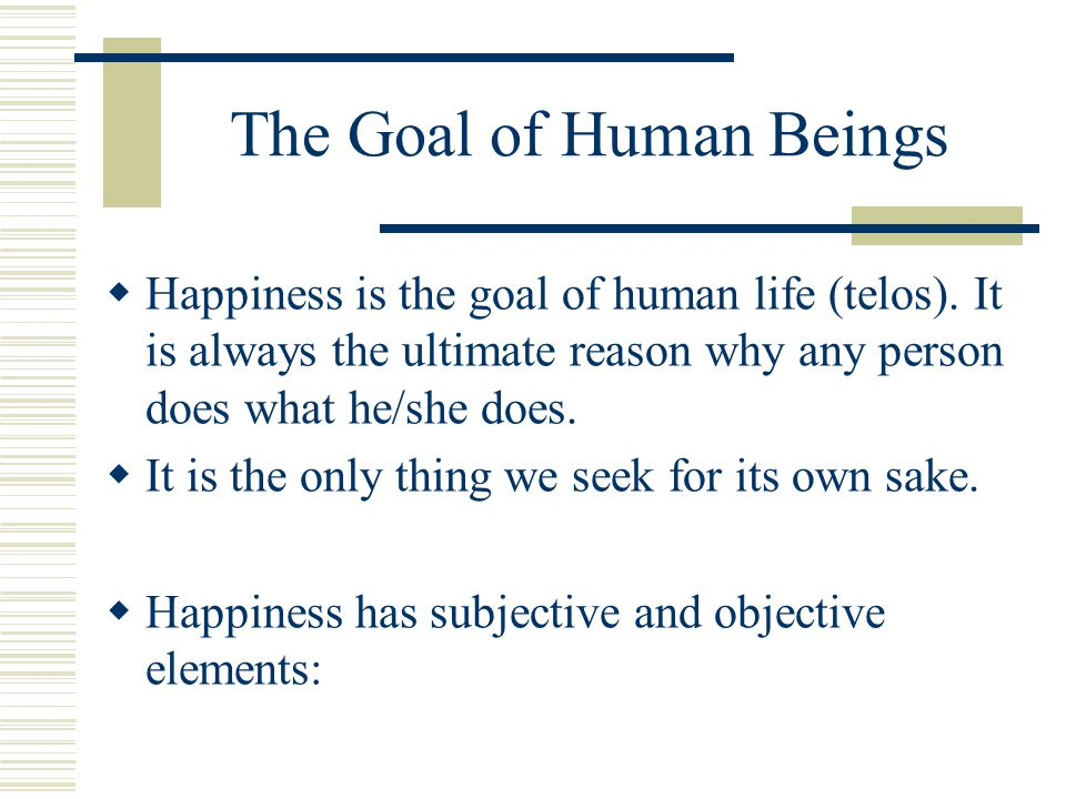 The Goal of Human Beings