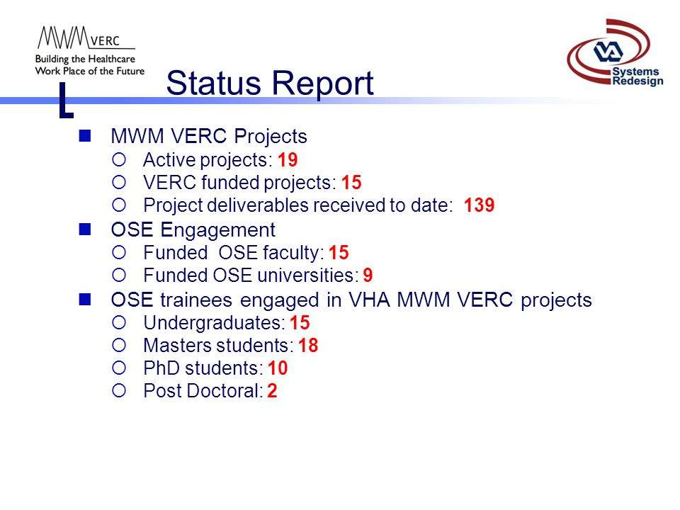 Status Report MWM VERC Projects OSE Engagement