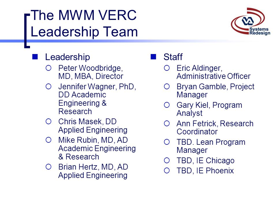 The MWM VERC Leadership Team