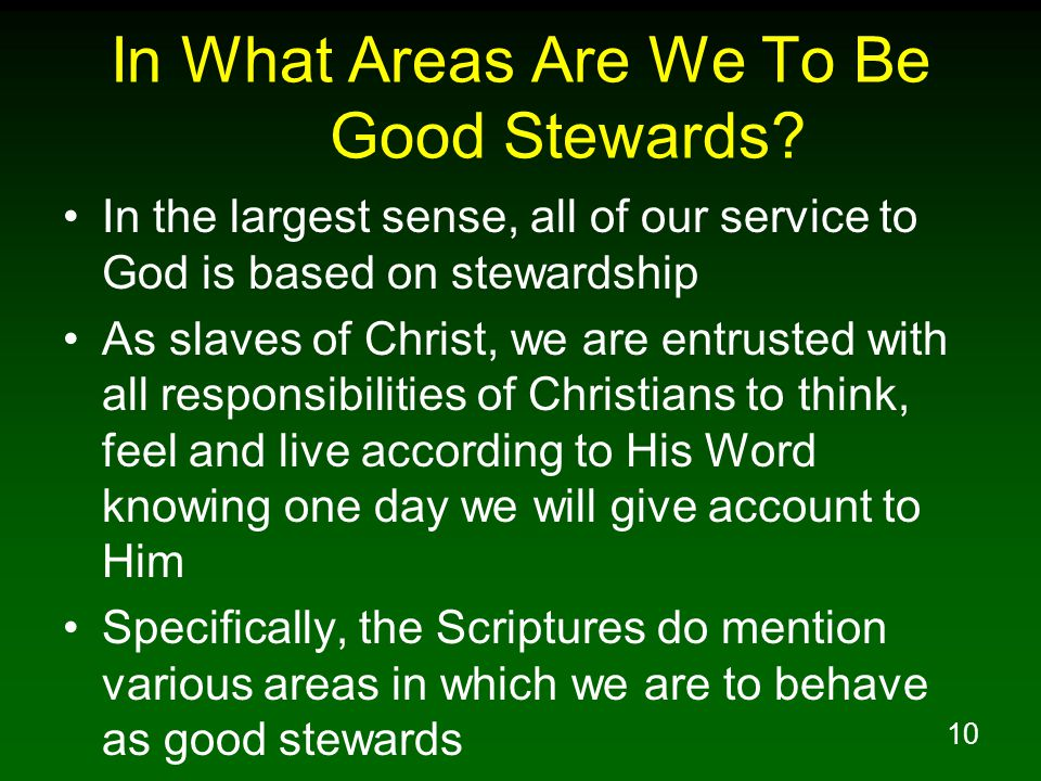 In What Areas Are We To Be Good Stewards
