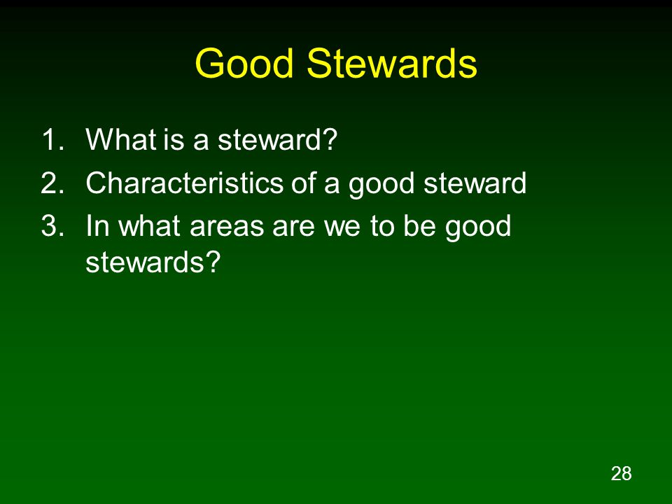 Good Stewards What is a steward Characteristics of a good steward