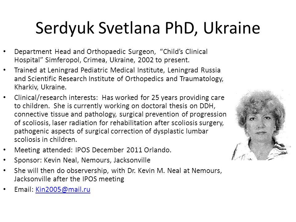 Serdyuk Svetlana PhD, Ukraine