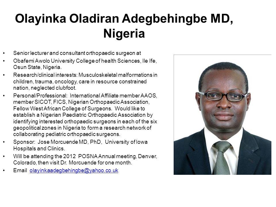 Olayinka Oladiran Adegbehingbe MD, Nigeria