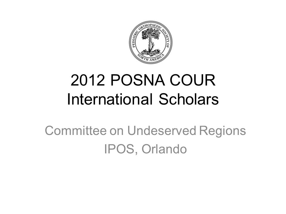2012 POSNA COUR International Scholars