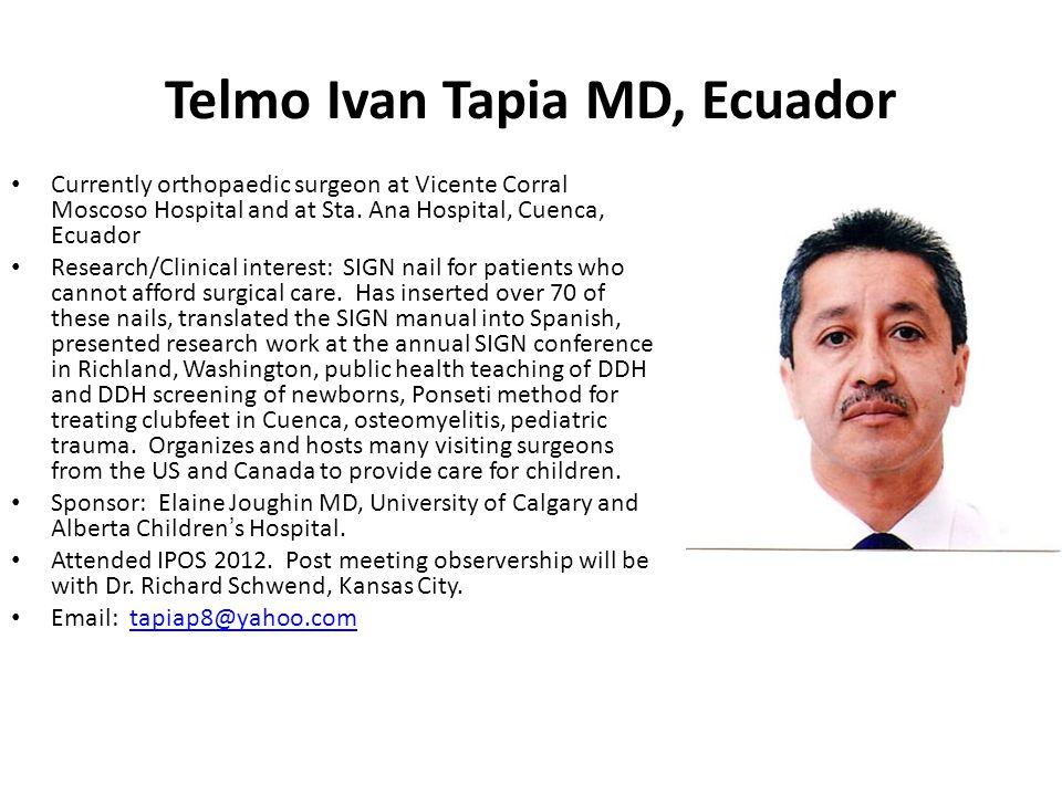 Telmo Ivan Tapia MD, Ecuador