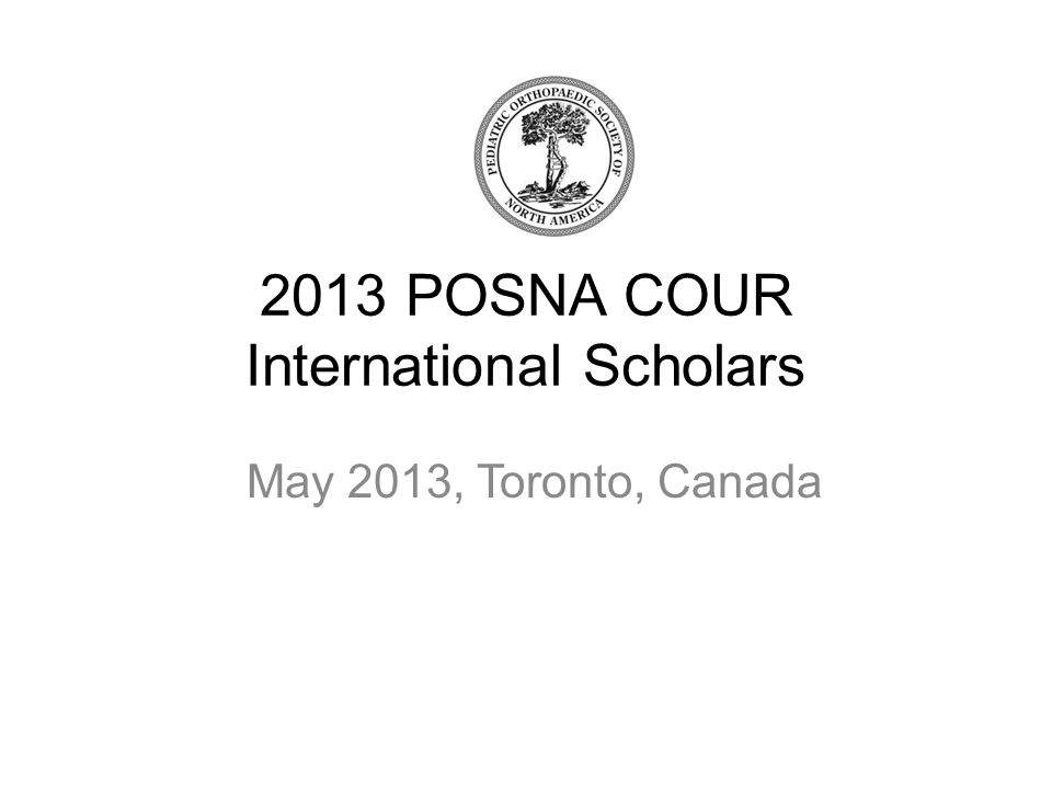 2013 POSNA COUR International Scholars