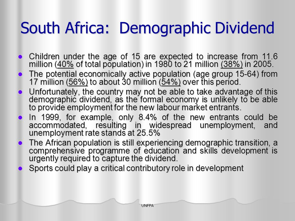 South Africa: Demographic Dividend