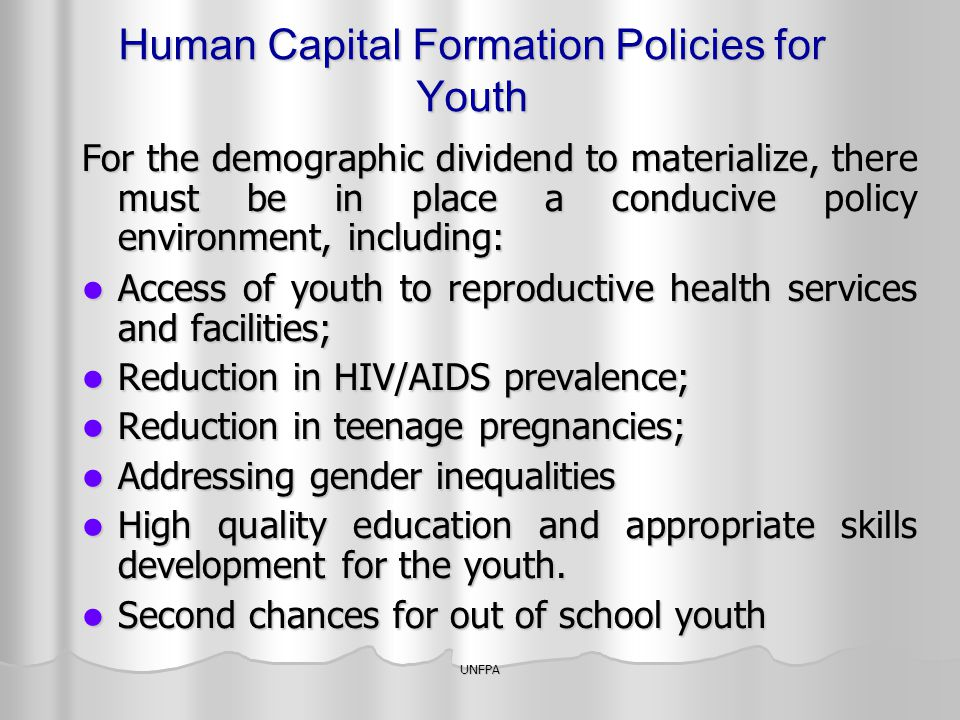 Human Capital Formation Policies for Youth
