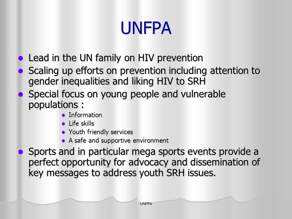 UNFPA Lead in the UN family on HIV prevention