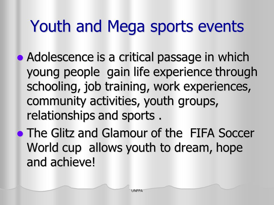 Youth and Mega sports events