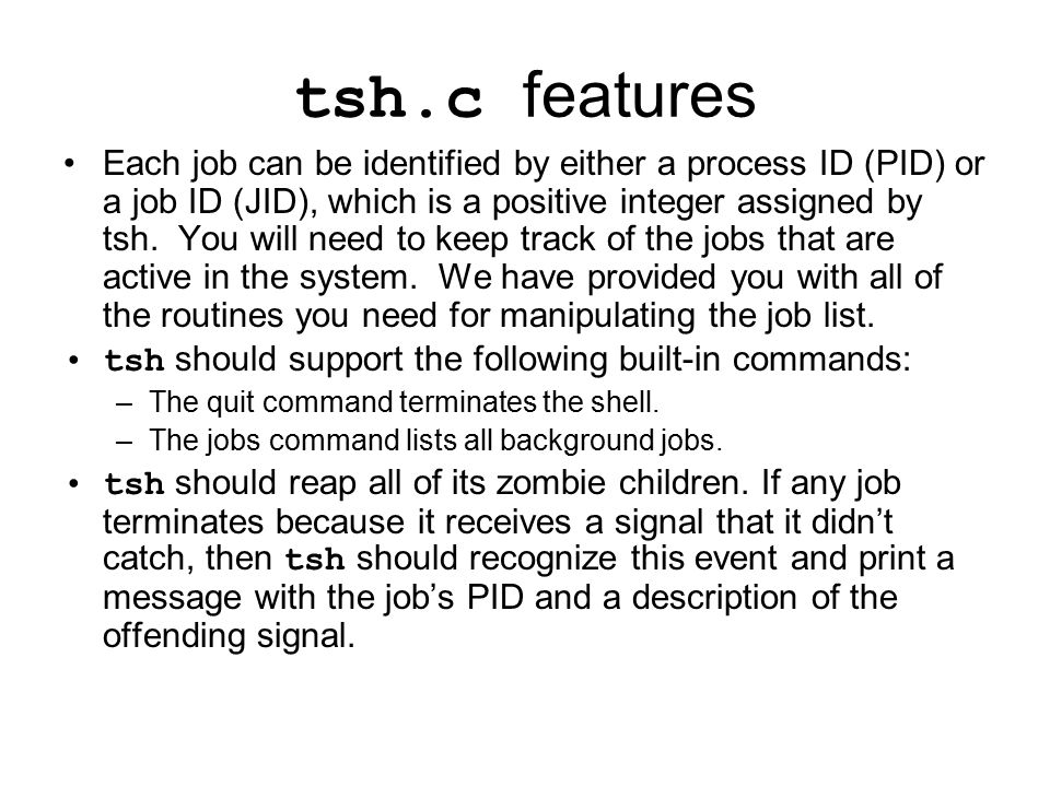 tsh.c features