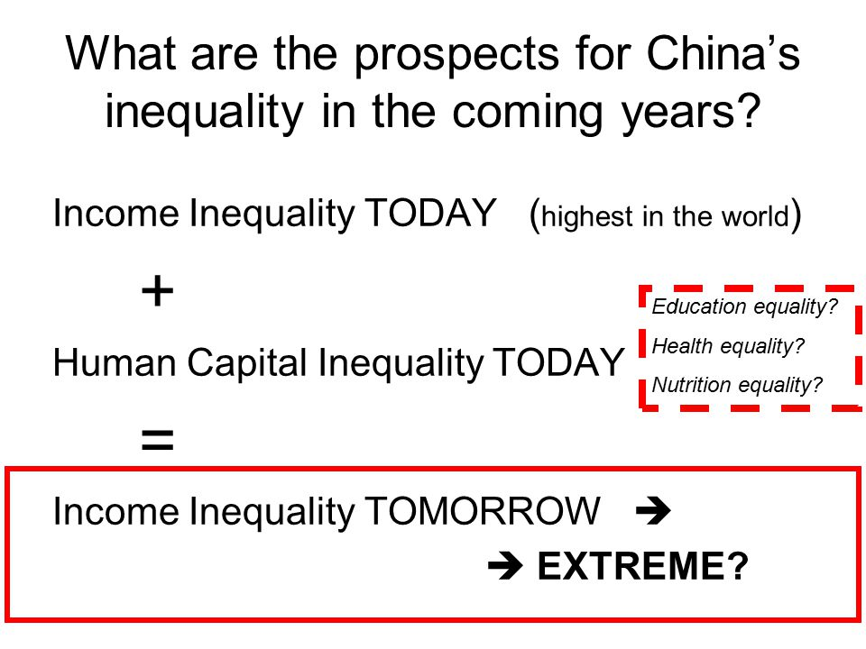 What are the prospects for China's inequality in the coming years