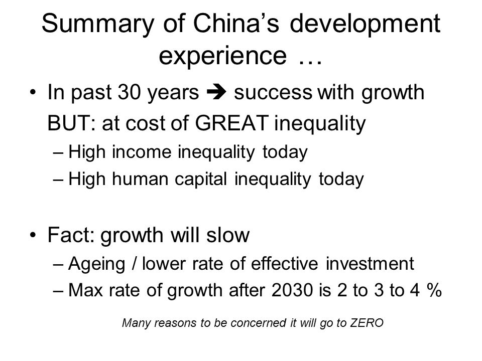 Summary of China's development experience …