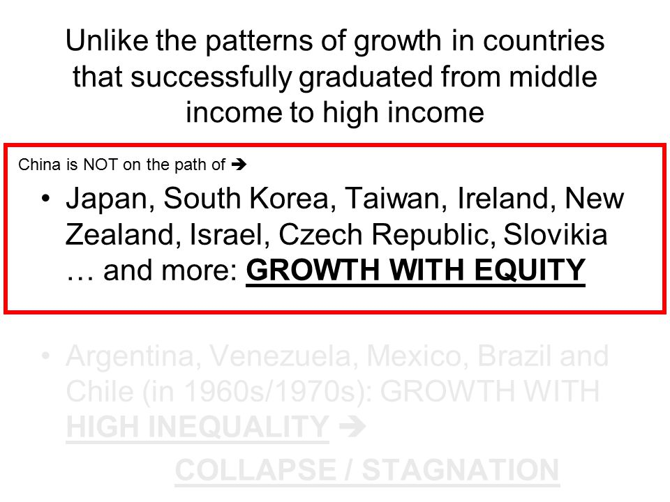 Unlike the patterns of growth in countries that successfully graduated from middle income to high income