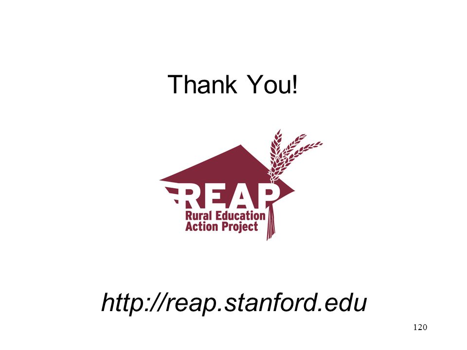 Thank You! http://reap.stanford.edu