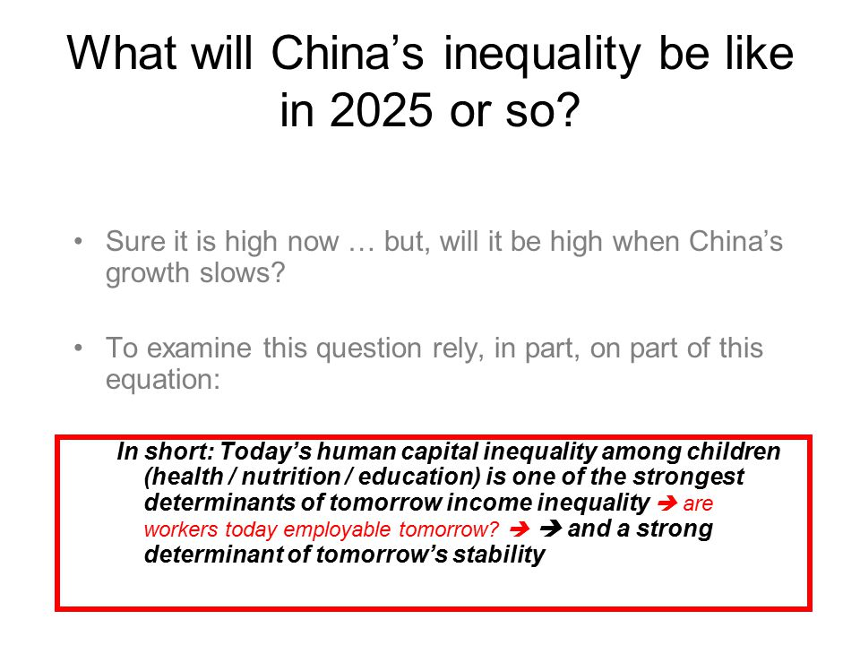 What will China's inequality be like in 2025 or so