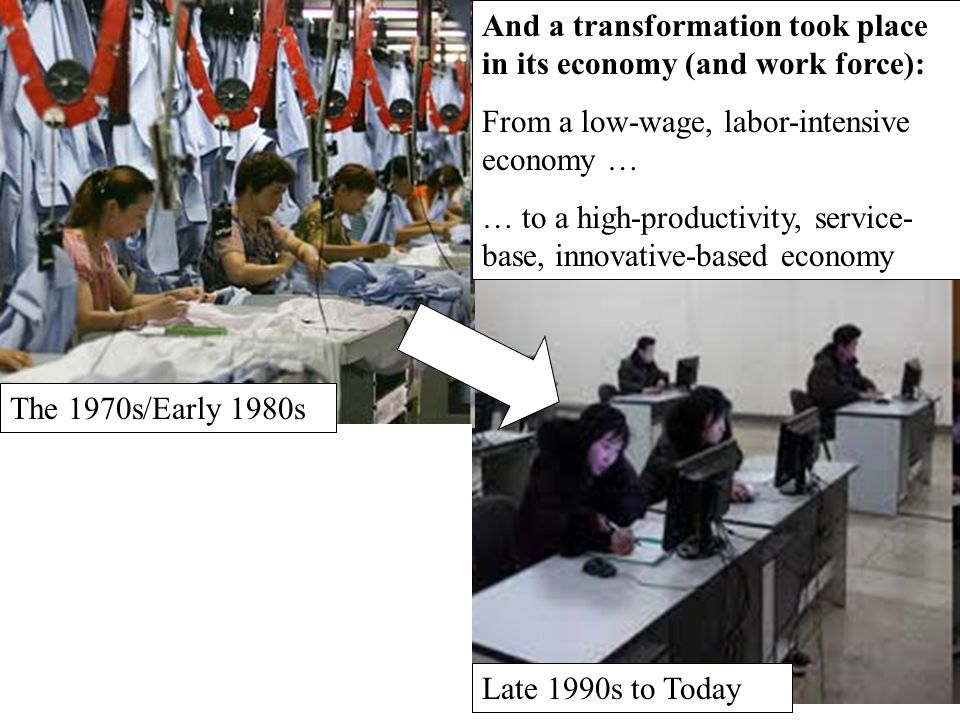 And a transformation took place in its economy (and work force):