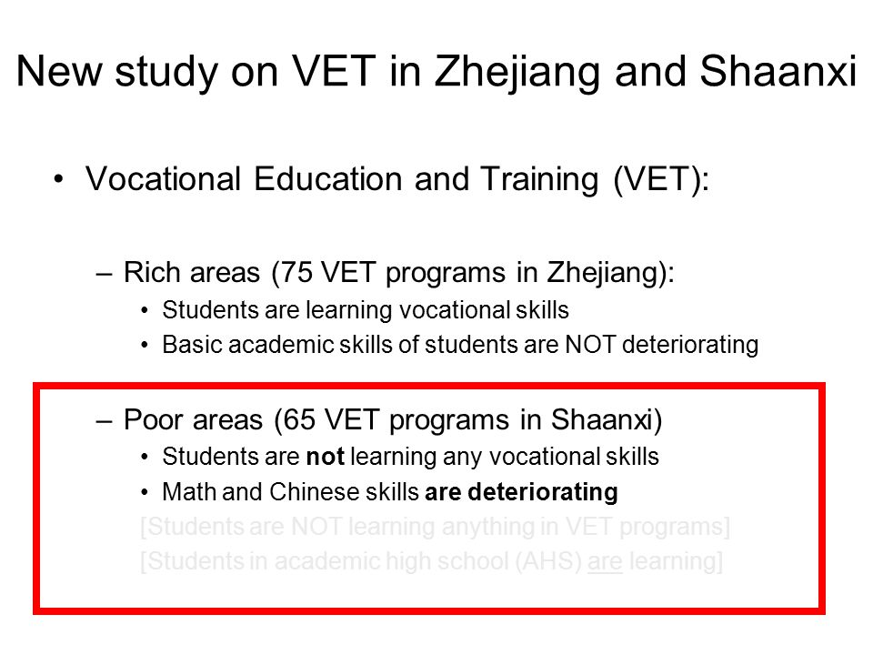 New study on VET in Zhejiang and Shaanxi