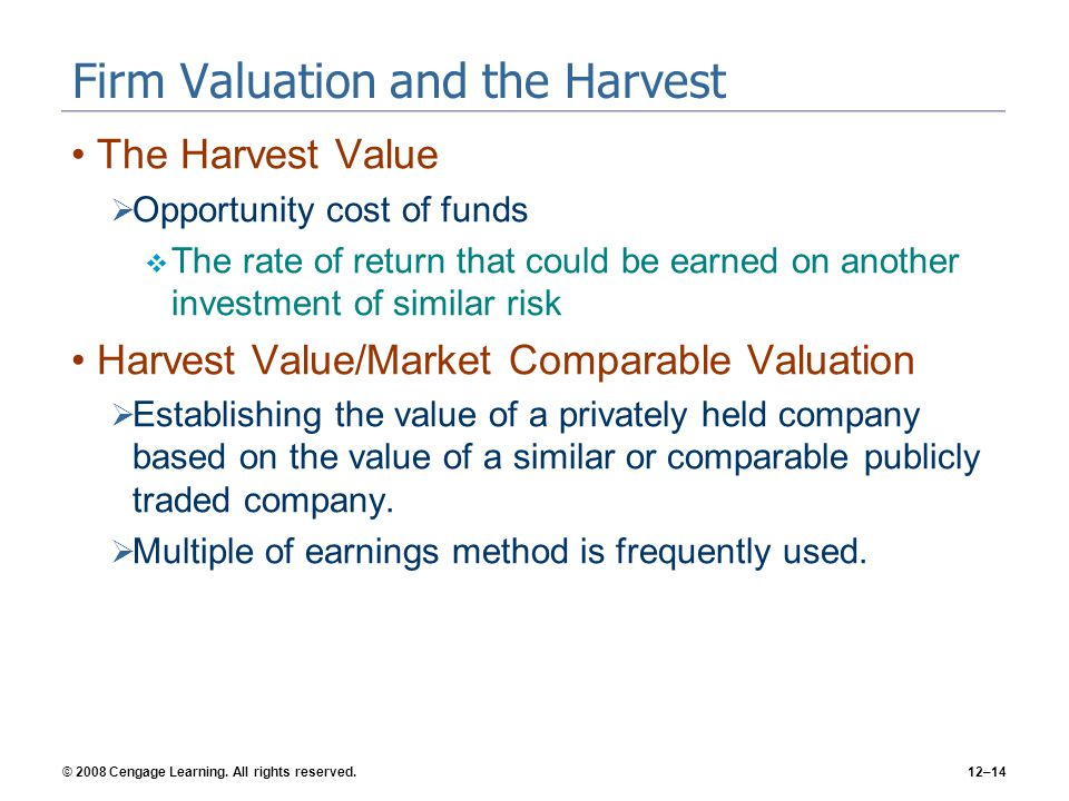 Firm Valuation and the Harvest
