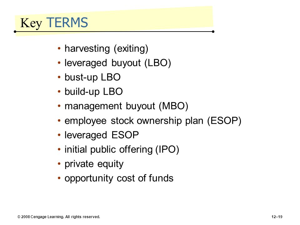 Key TERMS harvesting (exiting) leveraged buyout (LBO) bust-up LBO