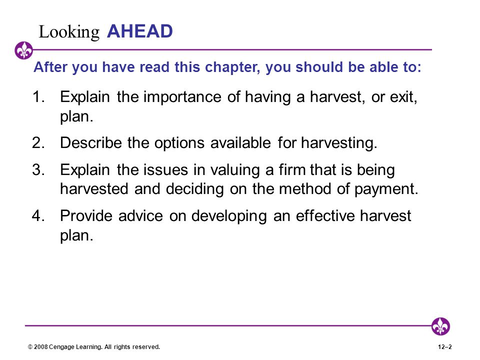 Looking AHEAD After you have read this chapter, you should be able to: Explain the importance of having a harvest, or exit, plan.
