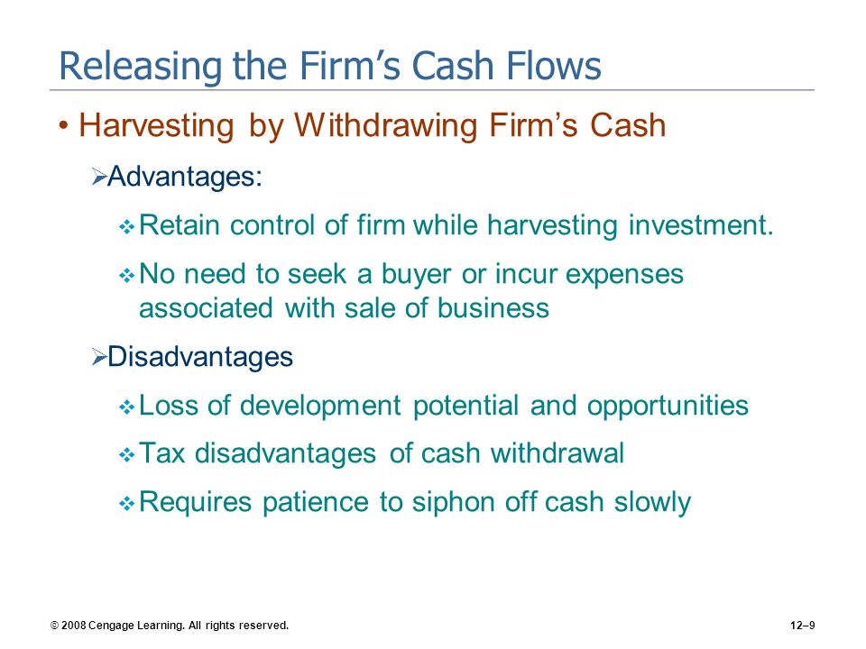 Releasing the Firm's Cash Flows