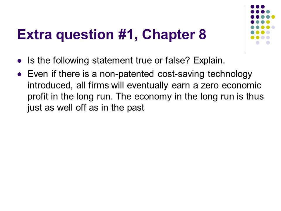 Extra question #1, Chapter 8