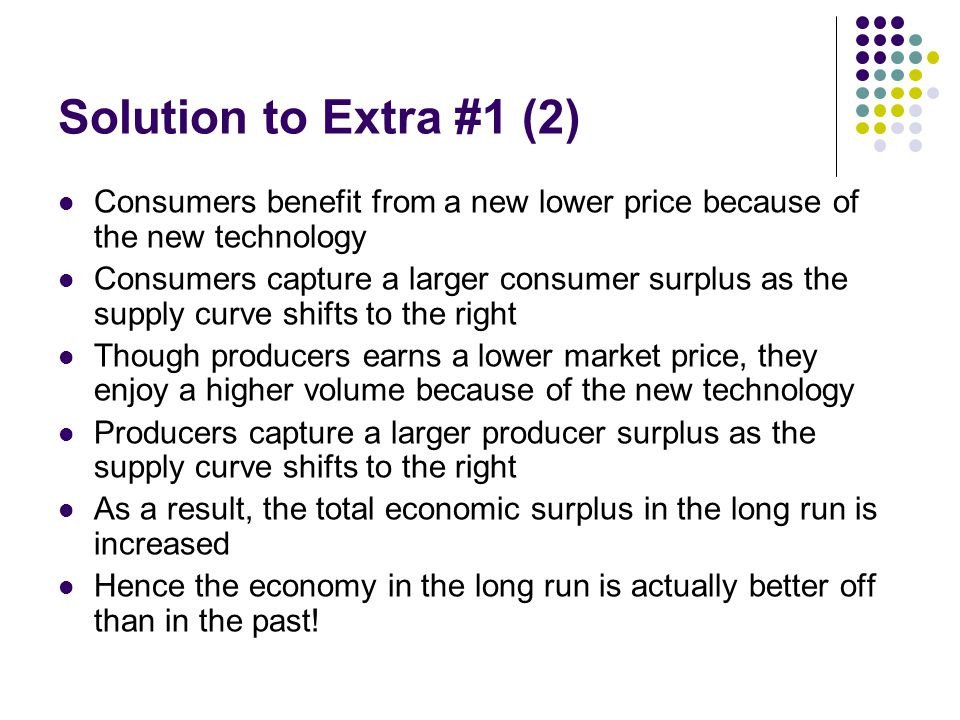 Solution to Extra #1 (2) Consumers benefit from a new lower price because of the new technology.