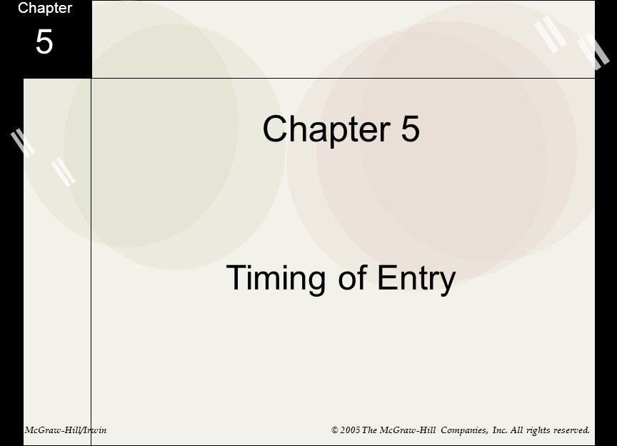 Chapter 5 5 Timing of Entry Chapter McGraw-Hill/Irwin