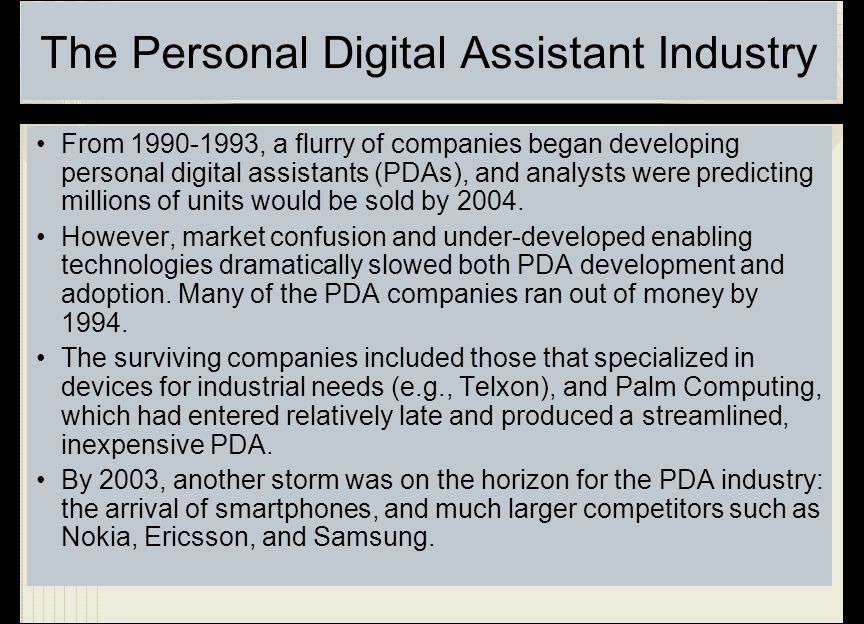 The Personal Digital Assistant Industry