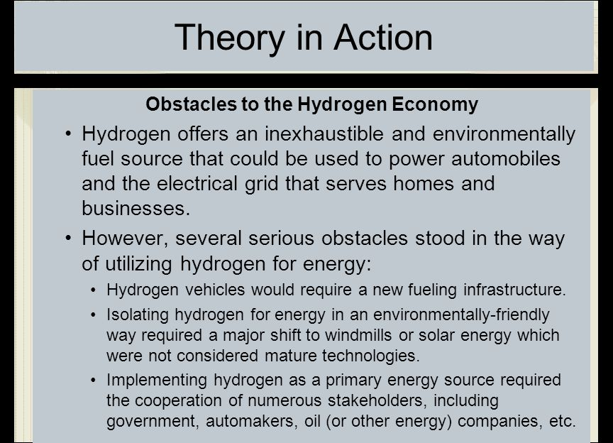 Obstacles to the Hydrogen Economy