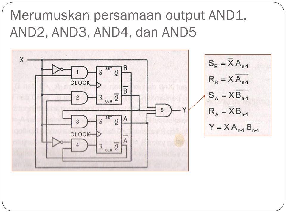 Merumuskan persamaan output AND1, AND2, AND3, AND4, dan AND5