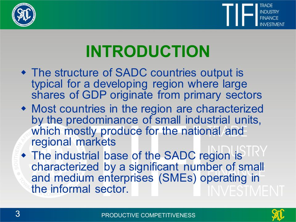 INTRODUCTION The structure of SADC countries output is typical for a developing region where large shares of GDP originate from primary sectors.