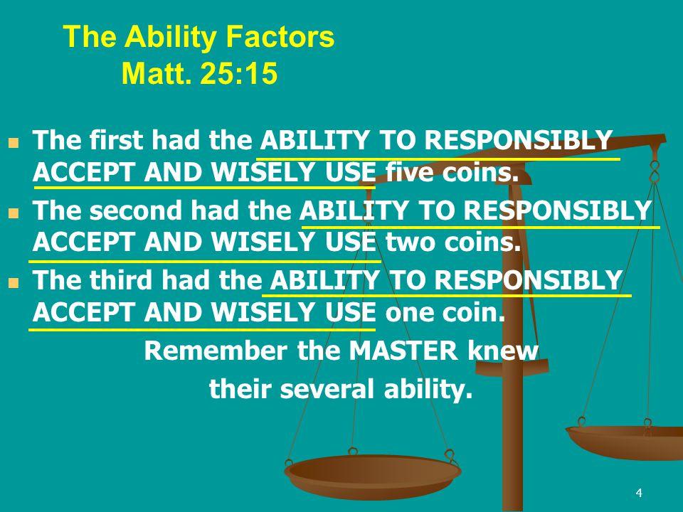 The Ability Factors Matt. 25:15