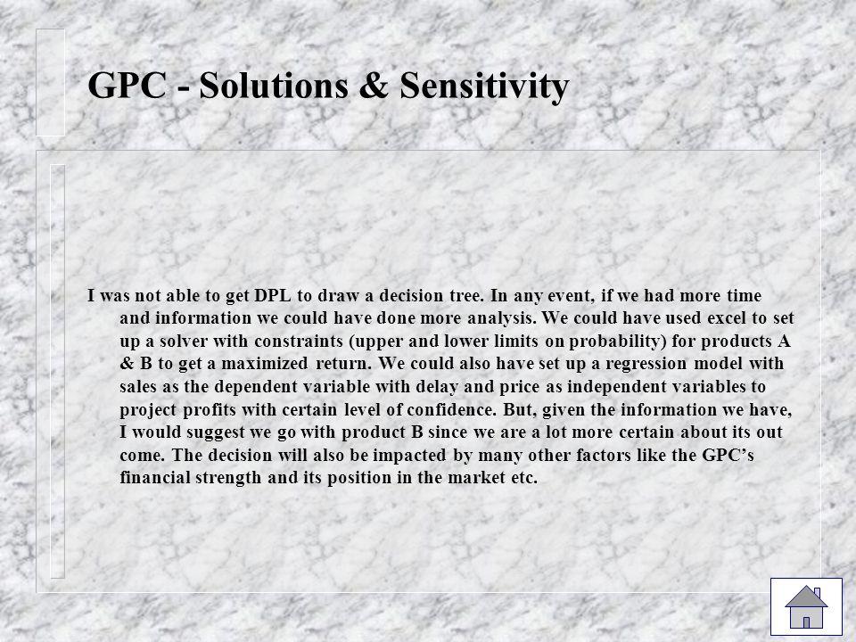 GPC - Solutions & Sensitivity