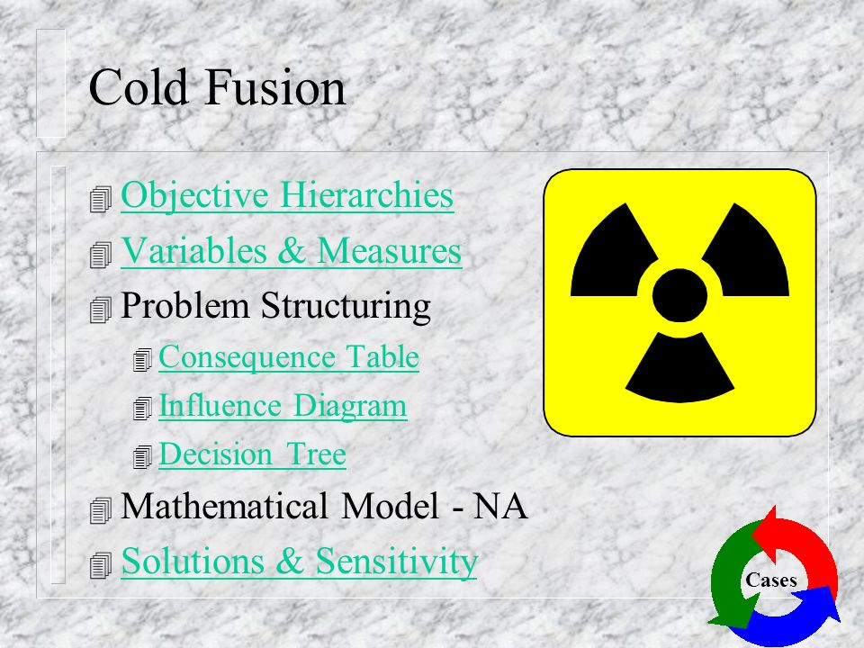 Cold Fusion Objective Hierarchies Variables & Measures