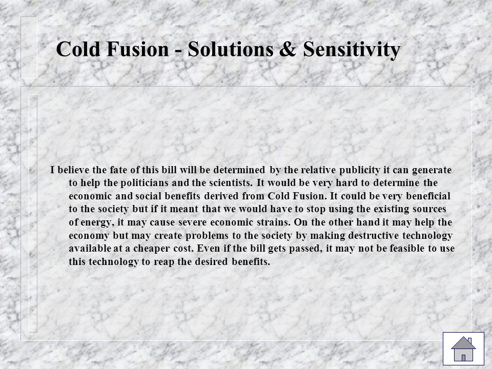 Cold Fusion - Solutions & Sensitivity