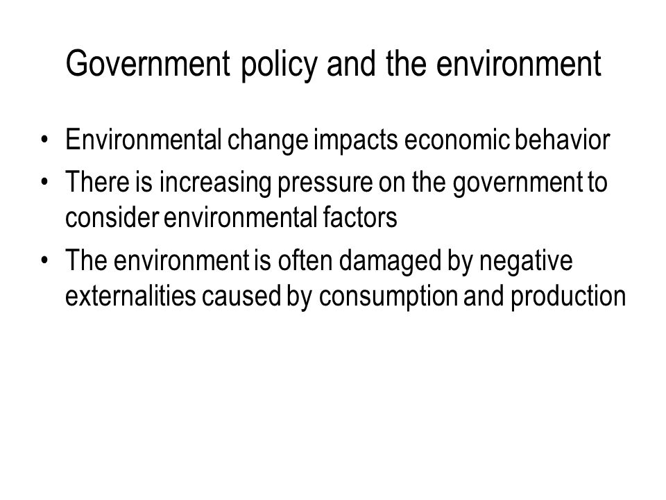 Government policy and the environment