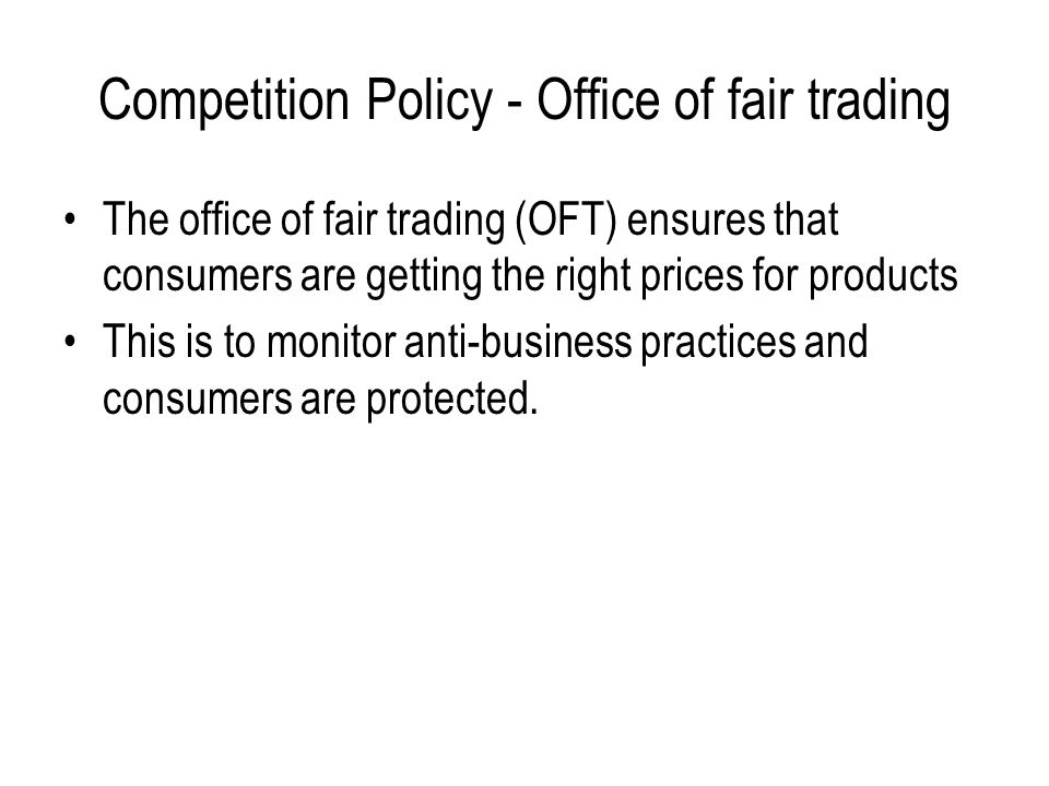 Competition Policy - Office of fair trading