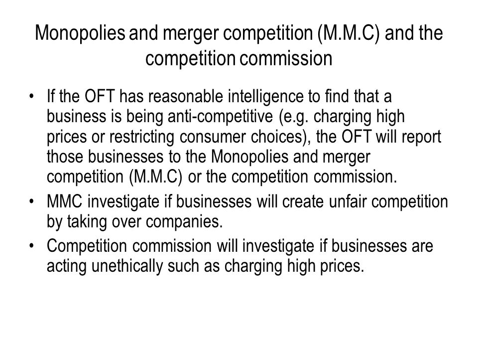 Monopolies and merger competition (M. M