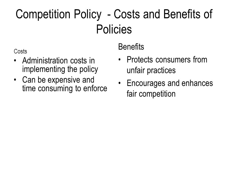 Competition Policy - Costs and Benefits of Policies