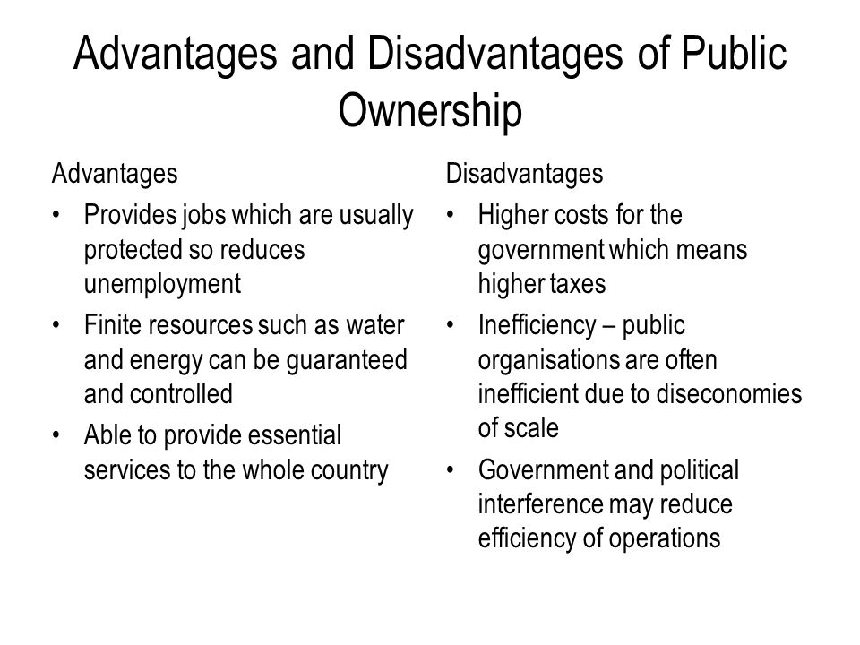 Advantages and Disadvantages of Public Ownership