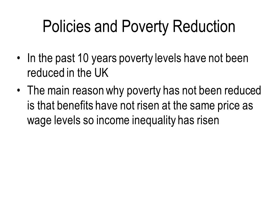 Policies and Poverty Reduction