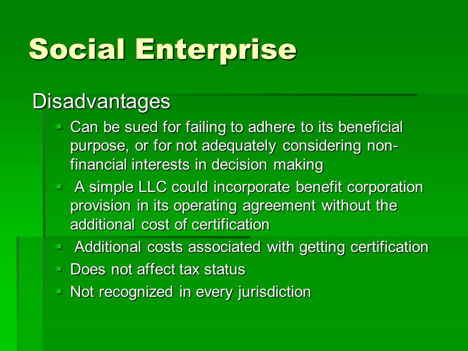 Social Enterprise Disadvantages