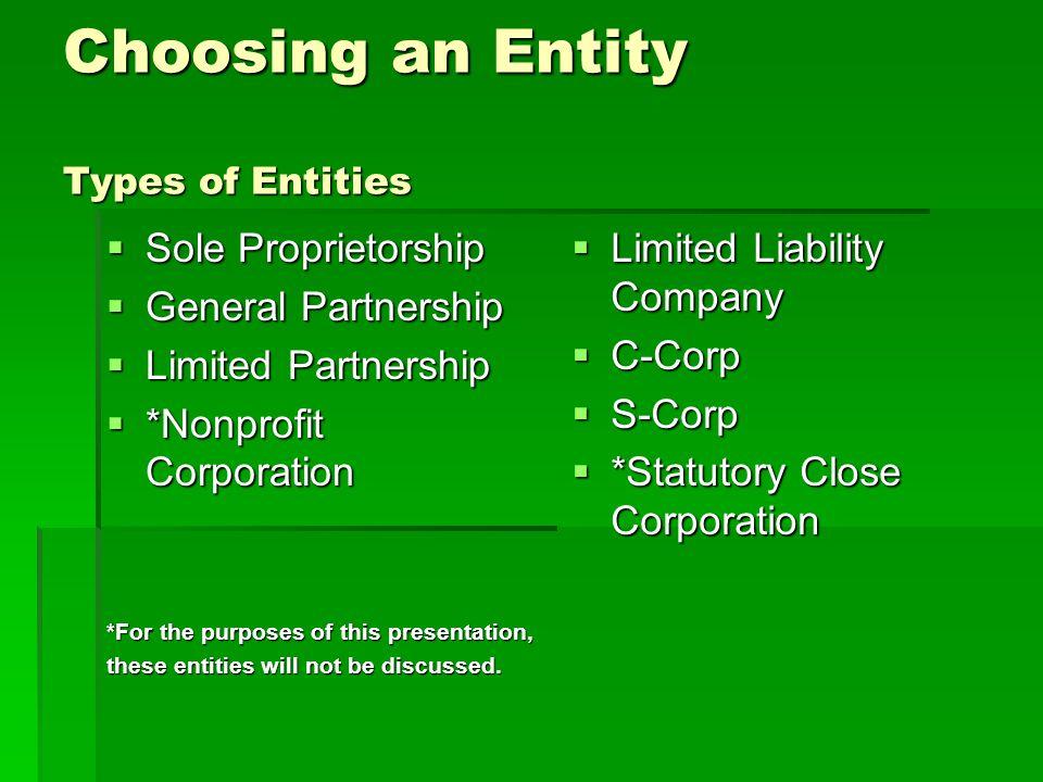 Choosing an Entity Types of Entities