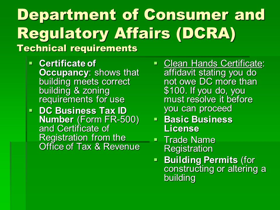 Department of Consumer and Regulatory Affairs (DCRA) Technical requirements